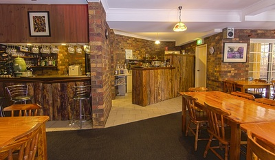 Commercial photography of accommodation bar and dining area