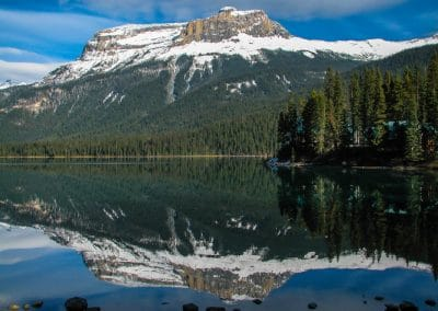 Landscape Photography snow capped mountains and lake reflection